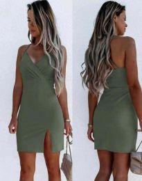 Елегантна дамска рокля в масленозелено - код 8979