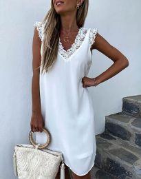 Дамска рокля  с ефектен гръб в бяло - код 8263