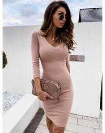 Изчистена рокля в цвят пудра - код 4040