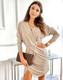 Елегантна дамска рокля в бежово - код 2058