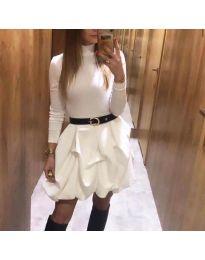 Стилна  дамска рокля в бяло - код  8380