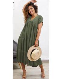 Феерична рокля в маслено зелено - код 4475