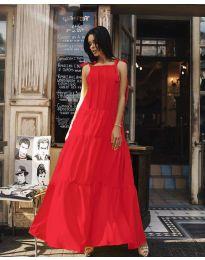 Ефирна дълга рокля в цвят червено - код 1105