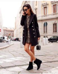 Дамско палто с копчета в черно - код 793