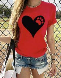 Тениска с ефектен принт в червено - код 3204