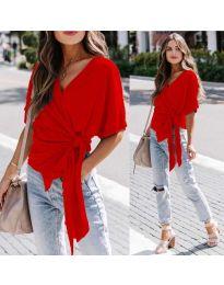 Изчистена дамска блуза в червено - код 0009