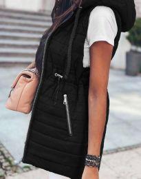 Дълъг дамски елек грейка с качулка в черно - код 4138
