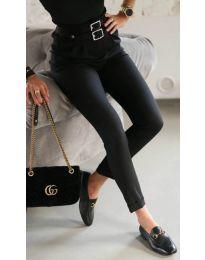 Стилен дамски панталон по крака в черно - код 317