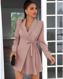 Елегантна рокля в цвят пудра - код 0333