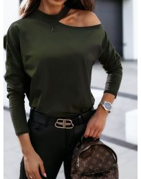 Дамска блуза в тъмнозелено с голо рамо - код 41511