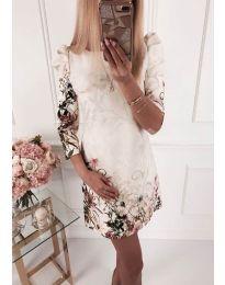 Елегантна рокля с флорални мотиви в бяло - код 240