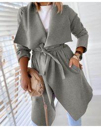 Свободно палто в сиво - код 8778
