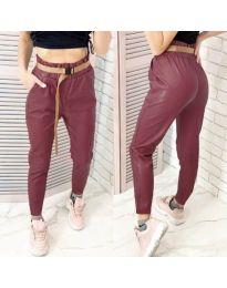 Дамски панталон в цвят бордо - код 6329