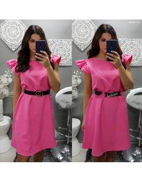Елегантна рокля с къс ръкав в циклама - код 703