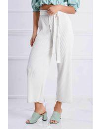 Ефирен панталон в бяло - код 4512