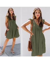 Свободна изчистена рокля в маслено зелено - код 5090