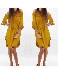 Асиметрична рокля с паднало деколте в цвят горчица - код 066
