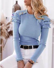 Дамска блуза рипс в светлосиньо - код 1645