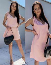 Свободна дамска рокля в цвят пудра - код 2504
