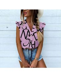 Дамска риза в лилаво с атрактивен десен - код 544