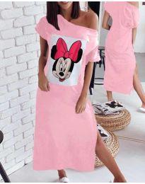 Свободна рокля в розово с принт - код 6656