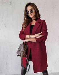 Дамско палто в цвят бордо - код 0964