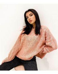 Дамски пуловер в цвят праскова - код 4172