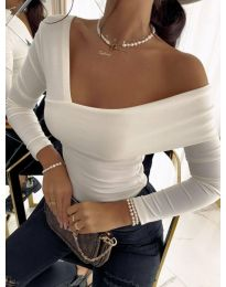 Атрактивна дамска блуза в бяло - код 5343