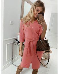 Ежедневна рокля с капси в розово - код 320