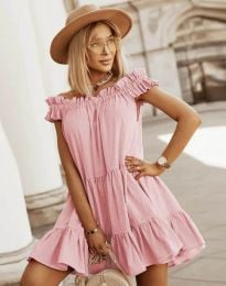 Свободна кокетна рокля в розово - код 6969