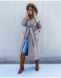 Дълго дамско палто в сиво - код 5877