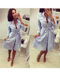 Карирана рокля с колан в синьо - код 044