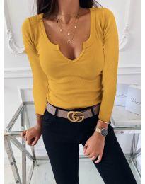 Изчистена дамска блуза в цвят горчица - код 875