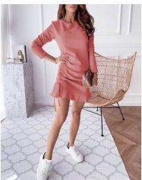 Дамска рокля в цвят праскова - код 832