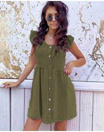 Свободна изчистена рокля в маслено зелено - код 3033