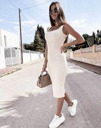 Дамска рокля по тялото в бяло - код 5964