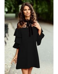 Елегантна рокля с тюл и ефектни ръкави в черно - код 019