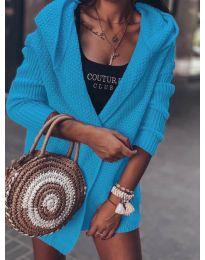 Къса плетена жилетка в синьо - код 7823