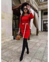 Дамска рокля в  червено - код 5190