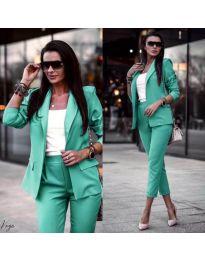Дамски комплект от сако и панталон в цвят мента - код 886