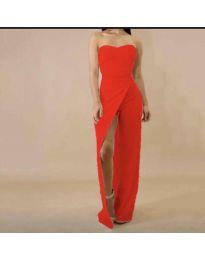 Елегантна рокля с цепка в  червено - код 1146