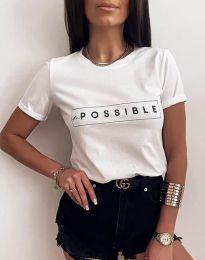 Бяла дамска тениска с принт - код 2272