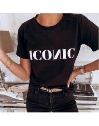 Дамска тениска в черно с бял надпис - код 996