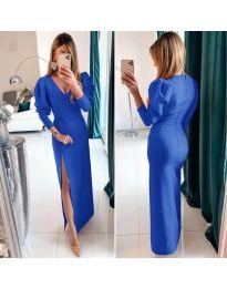 Дълга рокля с цепка в син цвят - код 210