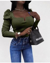 Елегантна блуза в маслено зелено - код 2620