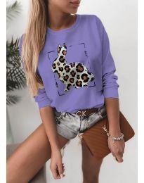 Дамска лилава блуза с принт - код 3992