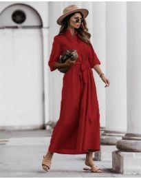 Изчистена рокля в червено - код 0900