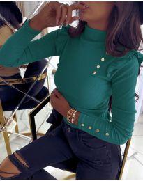 Дамска блуза в цвят тюркоаз - код 6566