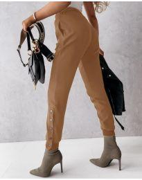 Модерен дамски панталон в цвят капучино - код 3987