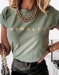 Дамска тениска с надпис в масленозелено - код 4078